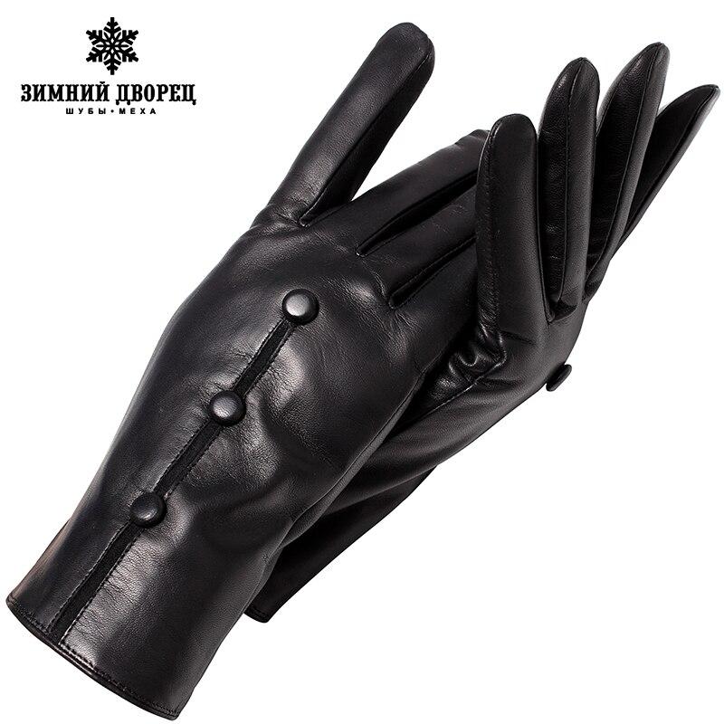 Véritable gants En Cuir de la Mode féminine en cuir gants gants Vintage femmes Haut Grade gants d'hiver Petit noir snap conception