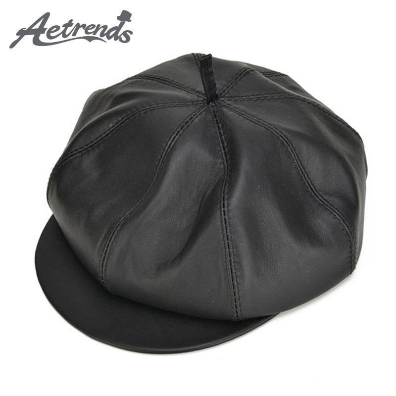 [AETRENDS] 2017 Casual Octagonal Cap 100% Leather Sheepskin Newsboy Caps for Women Men Z-5302