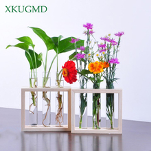 Wall Hanging Crystal Glass Test Tube Vase In Wooden Stand for Flowers Plants Home Garden Cafe Bar Desktop Decoration Flower Pot