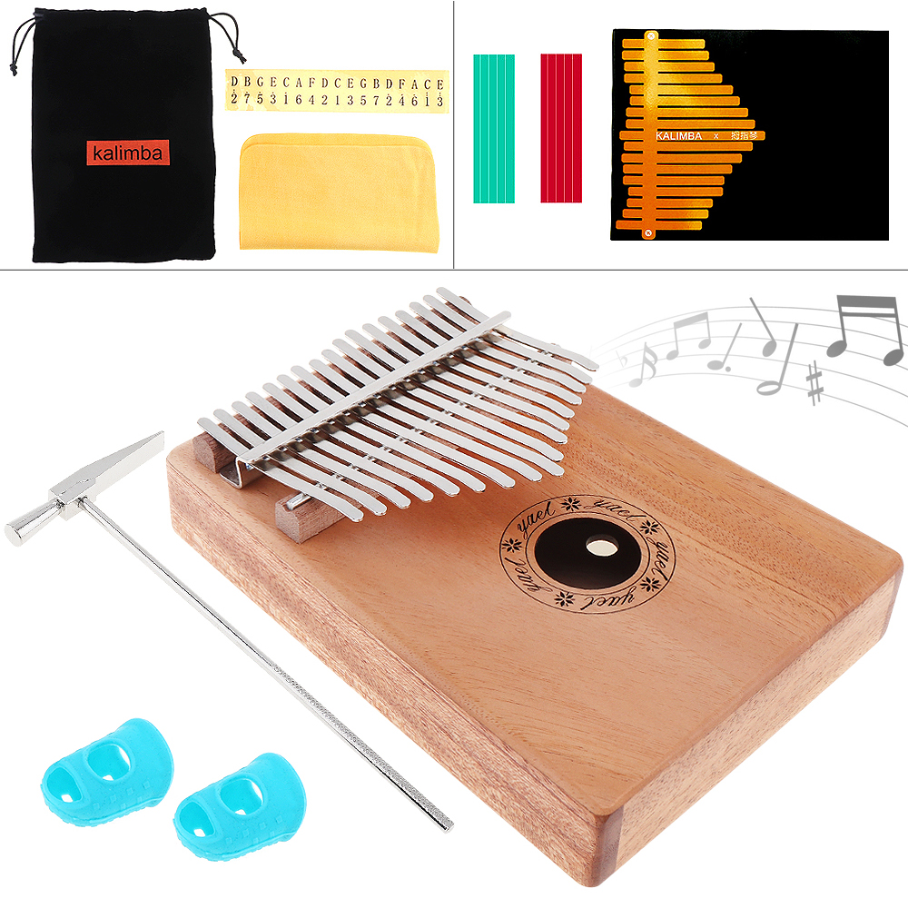 17Keys Kalimba Solid Mahogany Thumb Piano,Easy to Use and Carry with 7pcs Accessories,Clear Sound