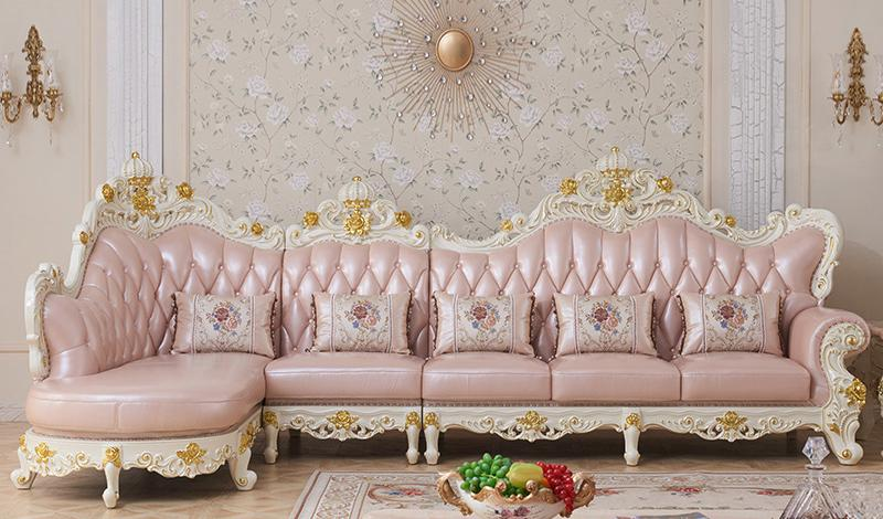 luxury European Style Wooden Full Leather Sofa set living room furniture china Sofa 1+2+3 image
