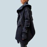 2018 NEW Fashion Asymmetrical Hem Women Autumn Winter Hooded Coat Outwear Jacket Zipper Loose HoodieS Sweats