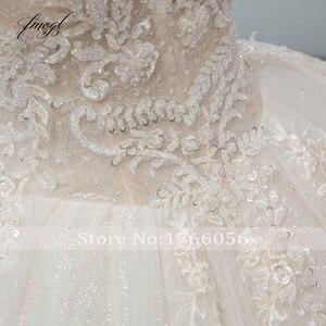 Image 5 - Fmogl יוקרה מתוקה תחרת כדור שמלת חתונת שמלת 2020 קפלת רכבת אפליקציות קריסטל שמלות הכלה Vestido דה Noiva