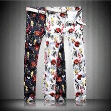 2017 Luxury   Birds Print Slim Denim Trousers Fashion Skinny Denim Jeans