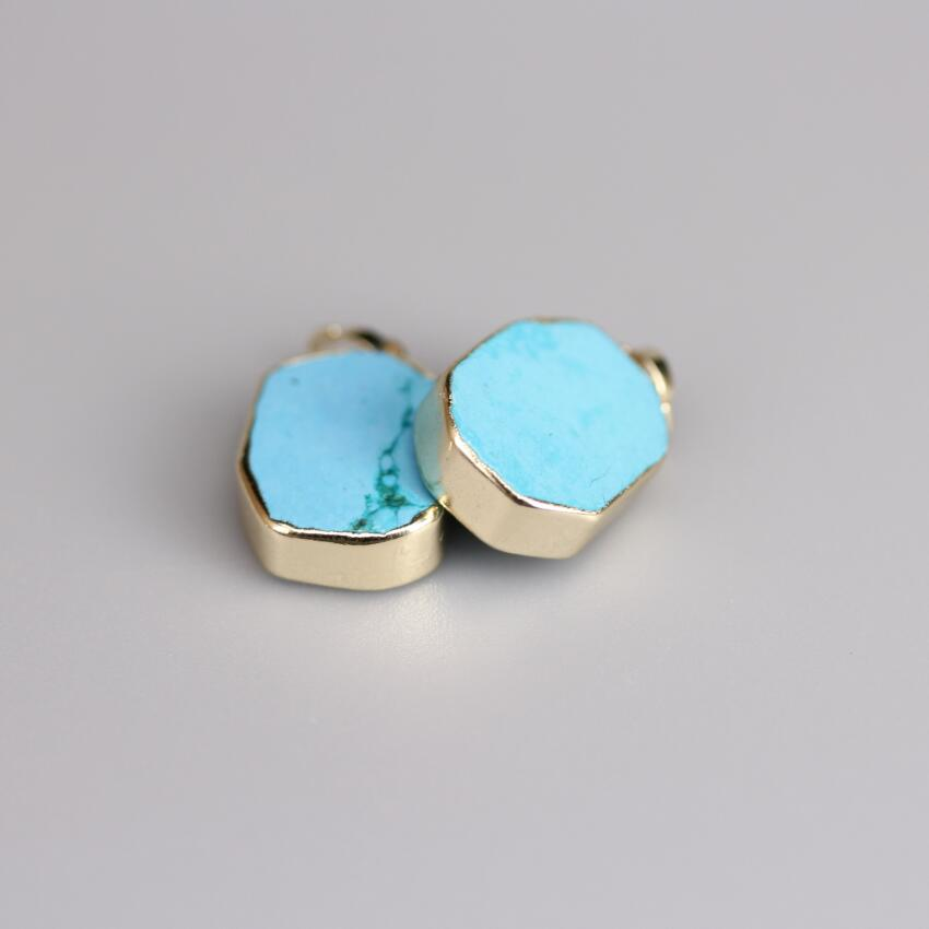 Wholesales Gold Edges Hexagon Slab Natural Turquoises Charms,Blue Howlite Stone Gem Slice Nugget Pendants Jewelry Making New!