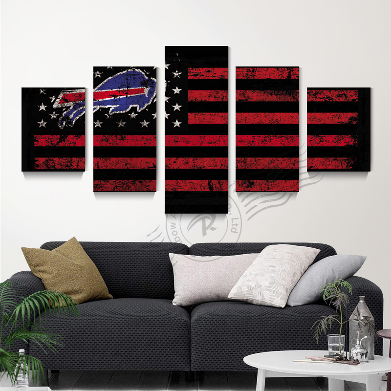5 Panel Buffalo Bills Sports Flag Logo Canvas Poster Oil Painting Wall Picture For Living Room Canvas Prints Unframd BR0160