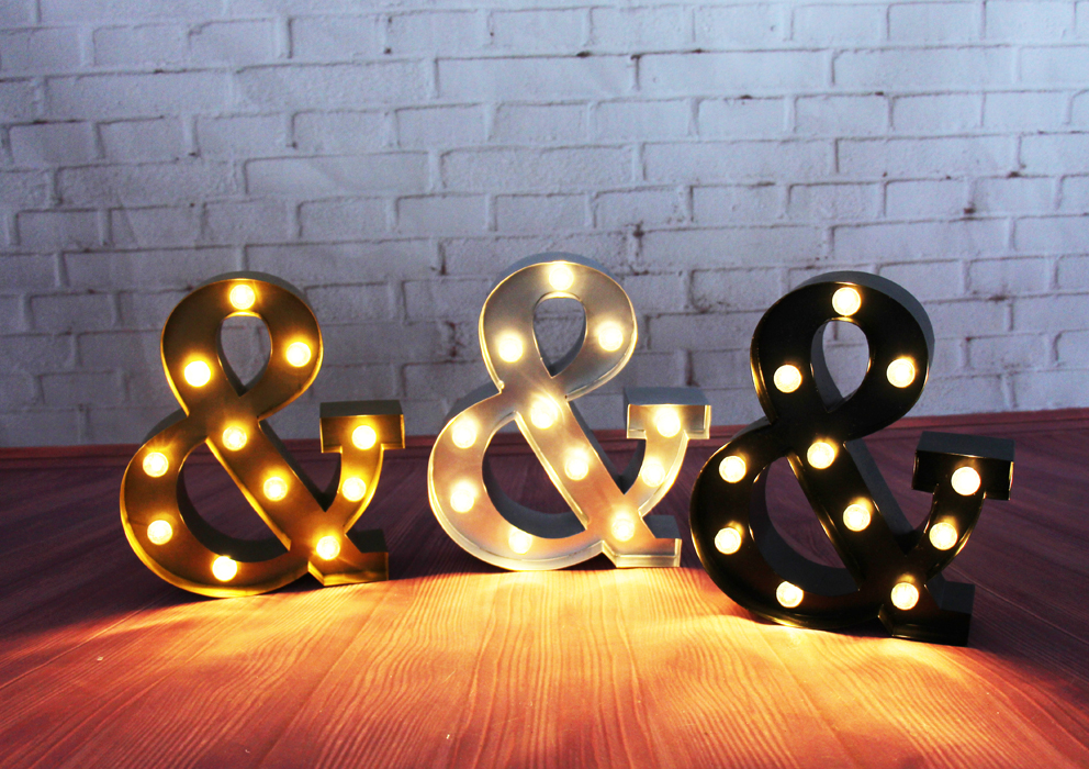 ФОТО 9inch metal Ampersand & LED Marquee Sign LIGHT UP  Vintage signs light holiday wedding Indoor Deration