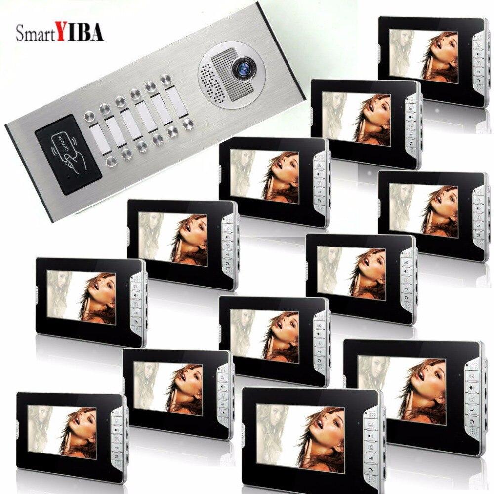 SmartYIBA Building Intercom For 2 To 12 Families RFID 7 Inch LCD Video Intercom For Apartment Video Door Phone Doorbell Camera