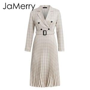 Image 5 - Jamerry Vintage Kẻ Sọc Nút Thắt Lưng Nữ Thanh Lịch Áo Xếp Ly Chân Váy Chữ A Công Sở Đầm Nữ Tay Dài Worek Mặc Đầm Dự Tiệc