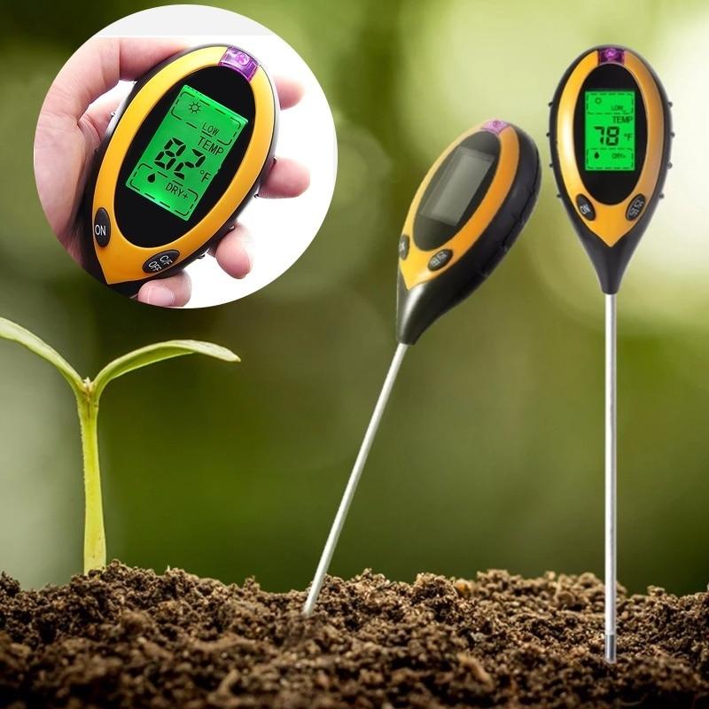 4 In 1 Soil Ph Meter Tester Soil Tester PH Moisture Meter Temperature Sunlight Intensity Measurement Analysis Soil Acidity Test