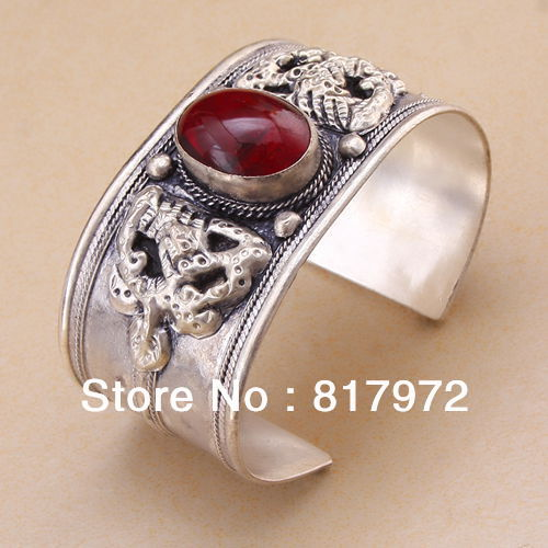 Lucky totem tibet silver genuine Bling garnet bead inlay cuff bracelet Adjustable Party Gift &6YB00054