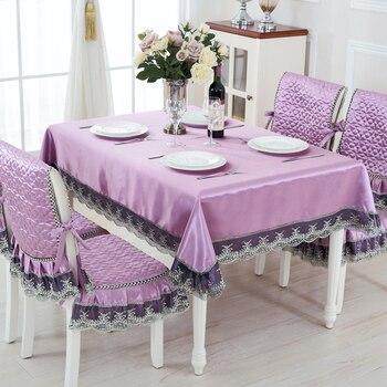 Luxurious Elegant Lace Decor Table Cloth For Wedding 9pcs/set Rectangular Table Cover Four Colors Tablecloth Tabelclothes Suit
