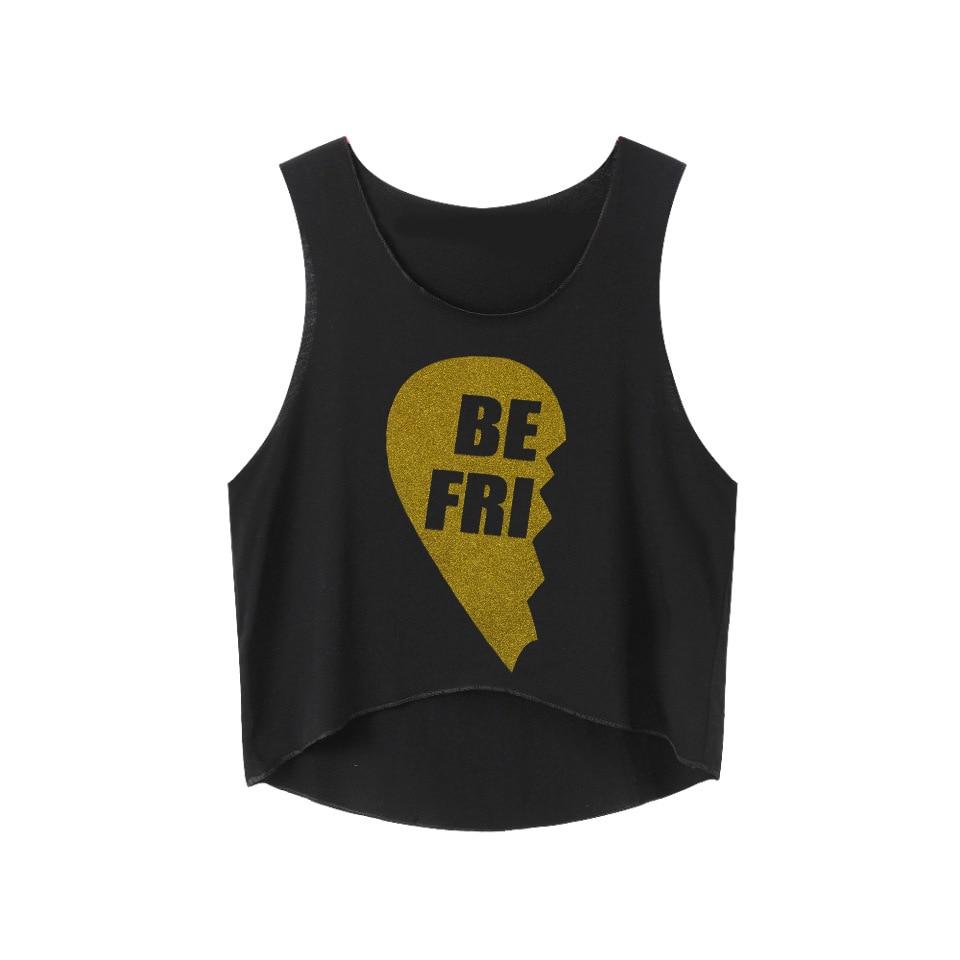 Gold Shine Printed Tees Women Clothes Summer Tops Tee Shirt Sleeveless Crop T-shirts BEST FRIENDS T Shirt Femenina Tumblr 2018