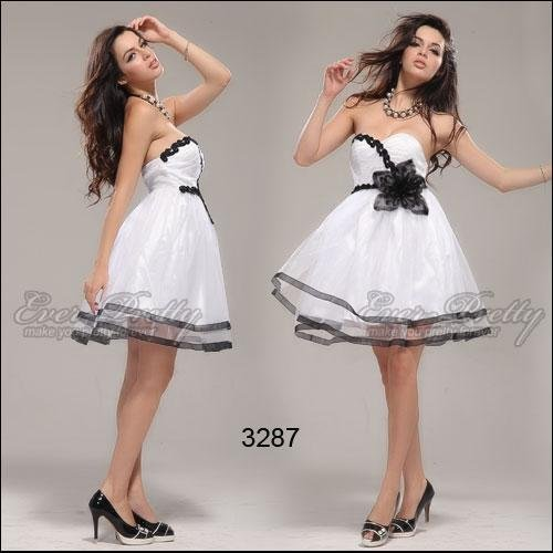 HE03287H Sexy Black White Strapless Flower Short Cocktail Dresses Party  Homecoming Gown ff9c2dddf