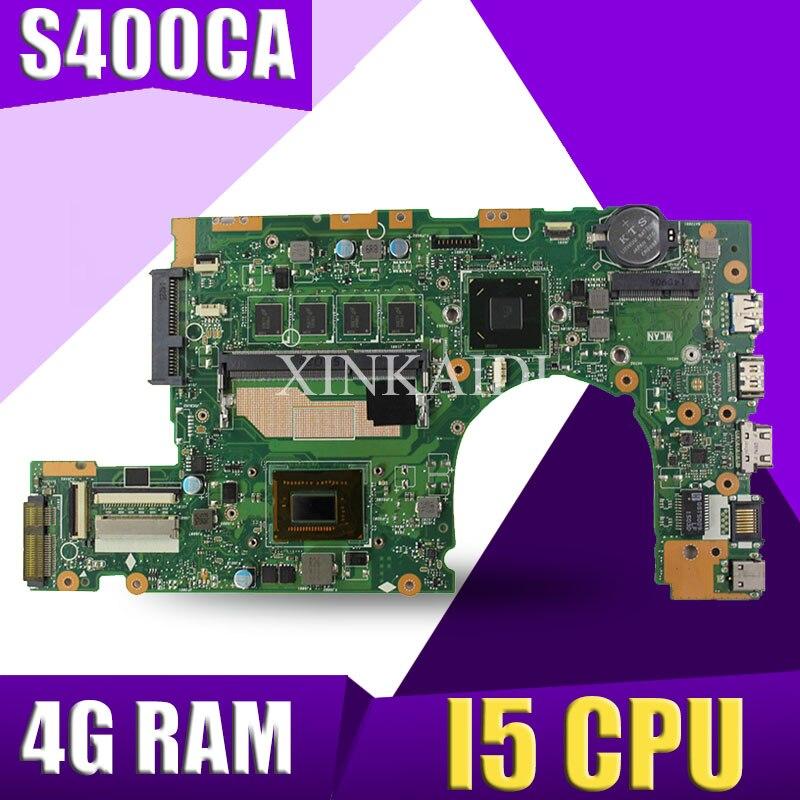 XinKaidi  S400CA Laptop Motherboard For ASUS S400CA S500CA S400C S500C S400 S500 Test Original Mainboard 4G RAM I5 CPU