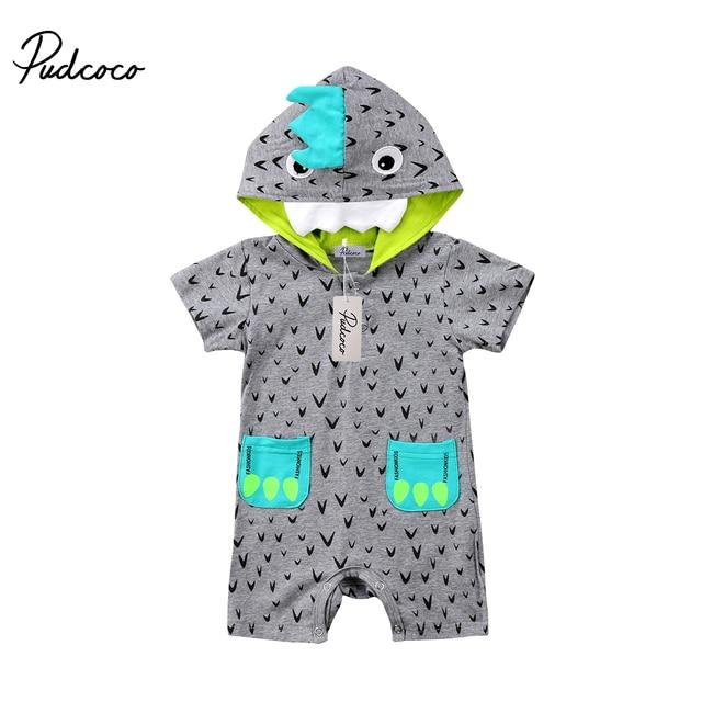 651b6f82f99c New Baby Boy Cartoon Polka Dots Hooded Romper Little Monster Gray ...
