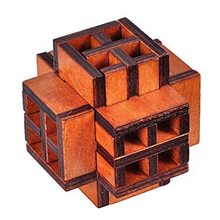 New 3D Wooden Window Cube Lock Burr Puzzle Brain Teaser Puzzles Removing Assembling Toy