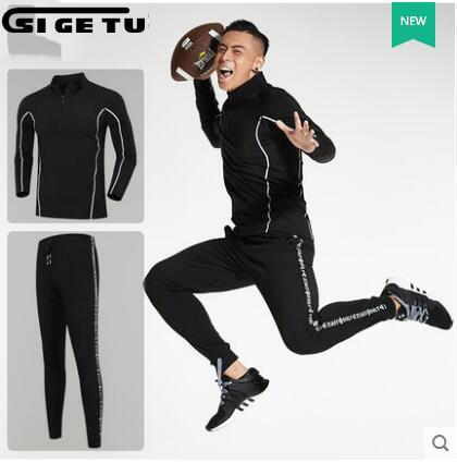 2017 nouveau Sportwear hommes marque costume Sport Sports de plein air automne vêtements d'hiver à manches longues taille M-4XL ensembles de course 2 pièces