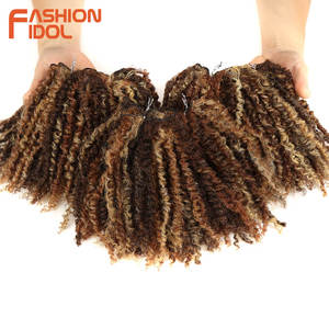 Image 1 - FASHION IDOL Mongolian Afro Kinky Curly Weave Hair Bundles Full Head 3Pcs/Pack 6 Inch Synthetic Hair Extension Free Shipping