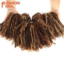MODE IDOL Mongolischen Afro Verworrene Lockige Webart Haar Bundles Vollen Kopf 3 teile/paket 6 Zoll Synthetische Haar verlängerung Kostenloser Versand