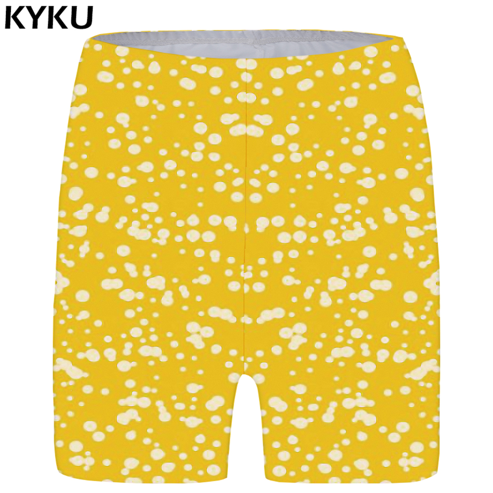 KYKU Ink Shorts Women Yellow Harajuku Casual Shorts High Waist Fashion Cool Womens Short Pants 2020 New Summer Big Size
