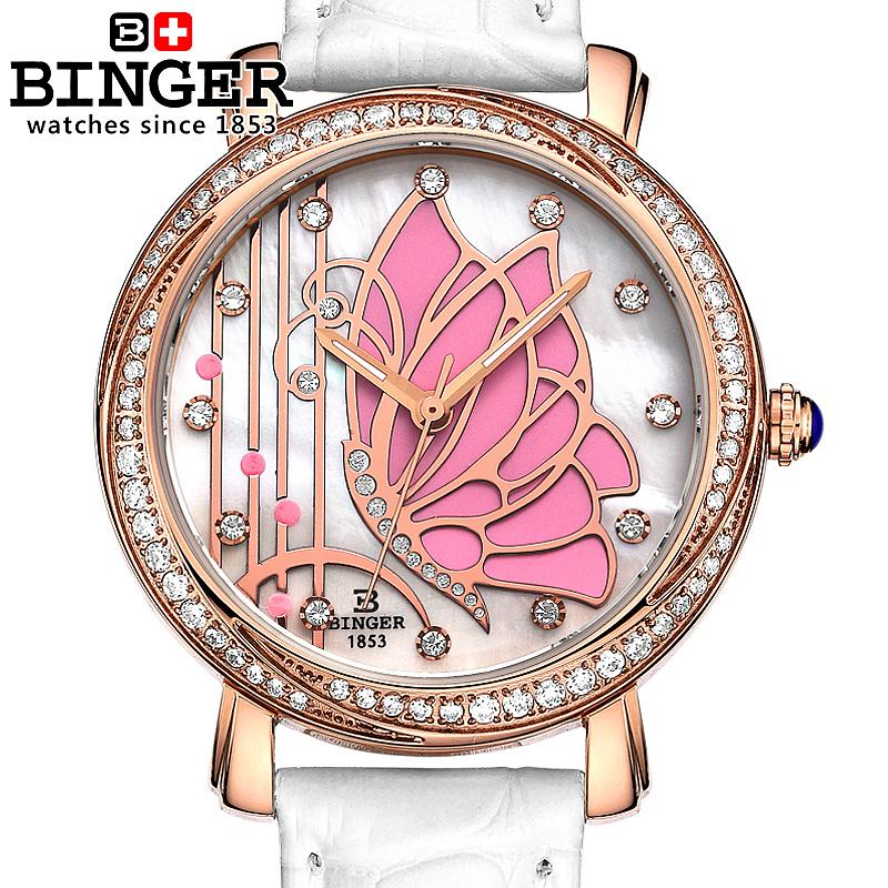 ФОТО Switzerland Binger watches women fashion luxury watch leather strap quartz  butterfly diamond Wristwatches B-3019L-3
