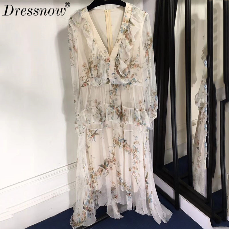 High Quality long dress women spring deep v neck dress High Quality silk ruffles dress