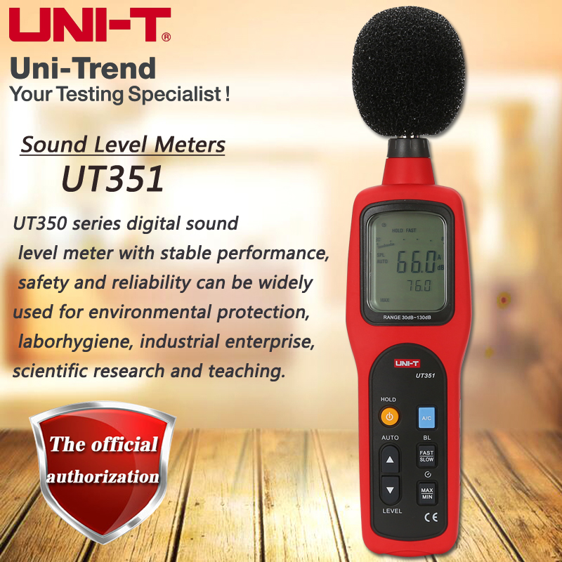 UNI-T UT351 sound level meter digital noise meter 130dB noise table high limit / low limit alarm analog bar LCD backlight
