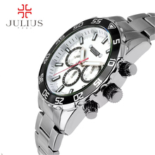 2016 June a newest Julius Man Quartz Wristwatch Swis Movement Business leisure Luminous waterproof multi-function watch JAH-096