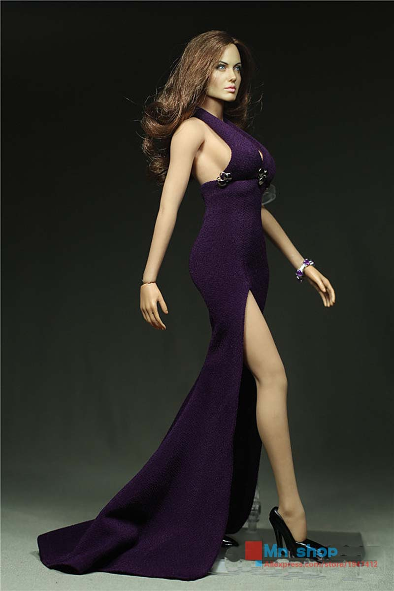 ФОТО 1/6 Scale Clothes Phicen Figure Accessories Purple Sexy Dress Clothing for Female Seamless Body Large/Middle Bust Toy P45