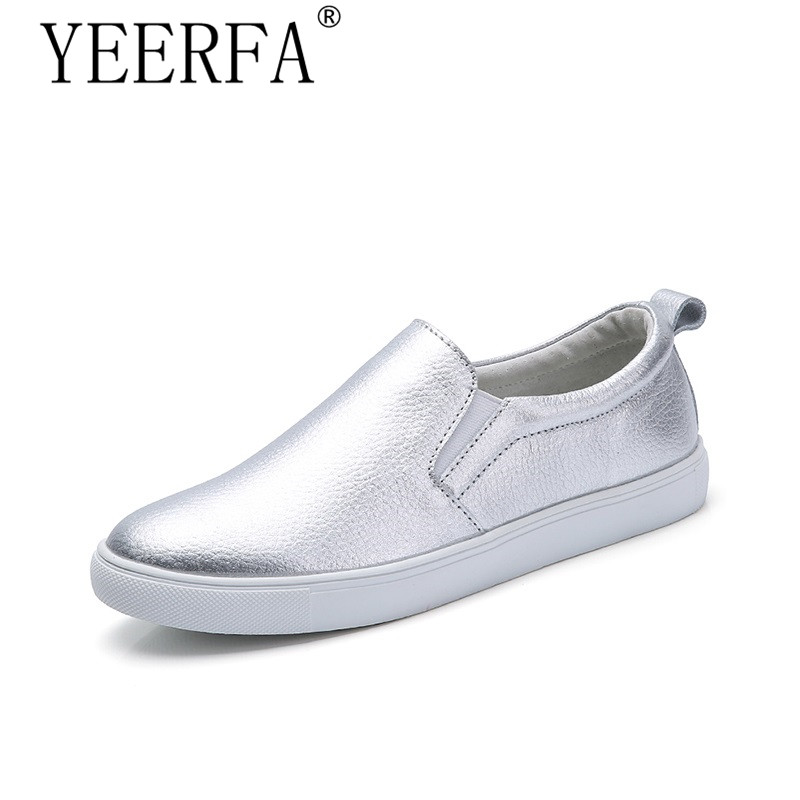 YEERFA 2017 Spring High Quality Women Leather Loafers Fashion Flats sliver Shoes Woman Slip On Female Shoes Silver Moccasins 2016 new spring thick bottom mesh glitter design fashion casual shoes platform high quality loafers slip on women flats
