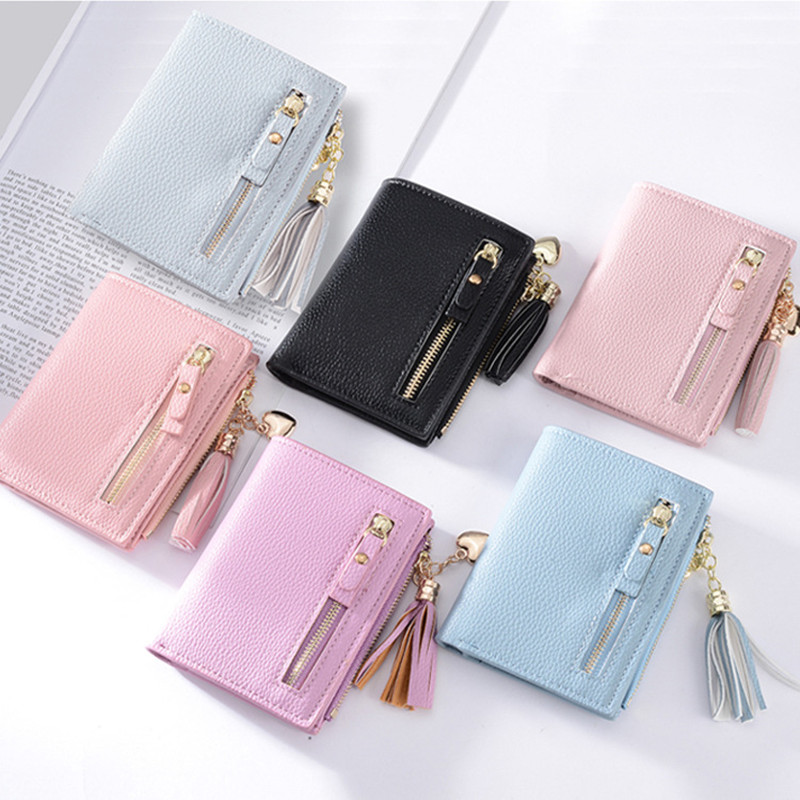 Monedero Pu Unisex Rushed Wholesale 2018 New Ladies Wallets Short Tassels Zippers Pendants Purses Girl Students Pocket Cards