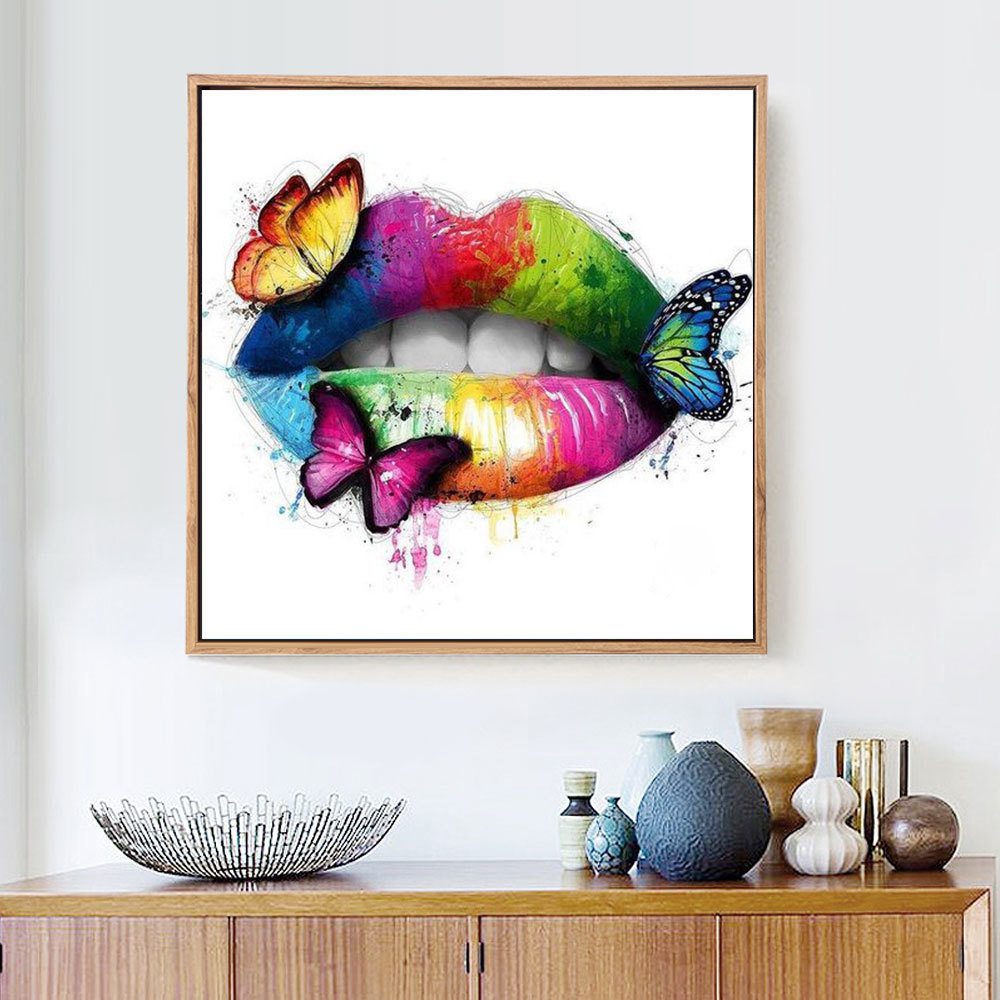 HUACAN New Arrivals 5D Diamond Painting Lip Full Square Diamond Mosaic Butterfly Round Diamond Embroidery Cross Stitch