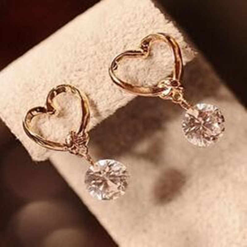 Korean fashion luxury charm drop pierced earrings zircon women jewelry wholesale