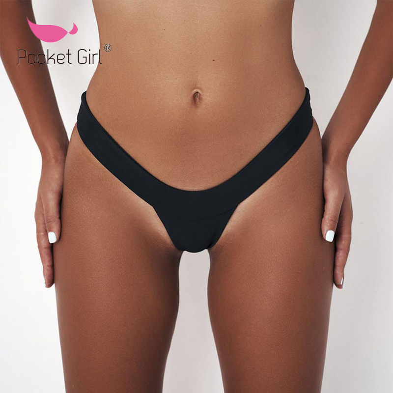 Pocket Girl 2019 Women Biquini Bikini Bottom Pure Color Brazilian T-back Semi V Thong Swimwear Brazilian Swimsuit Sexy Bathers