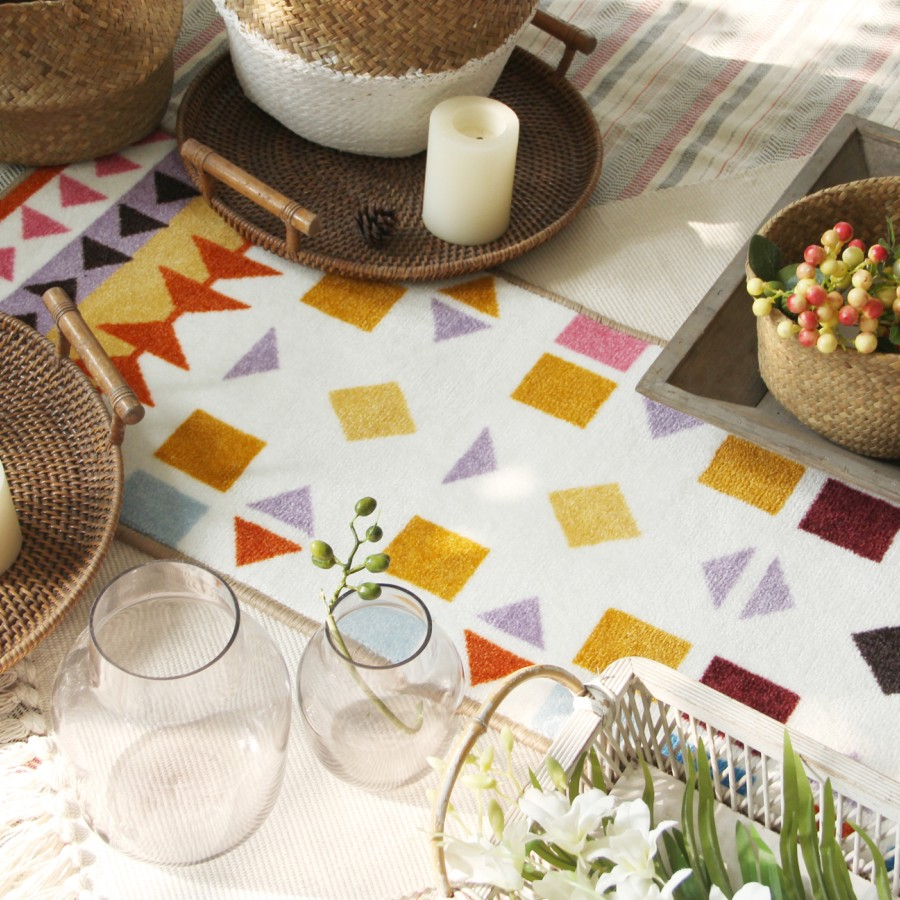 Collalily chaud nordique salon tapis géométrique indien maroc tapis plaid rayé cuisine tapis français chevet tapis moderne
