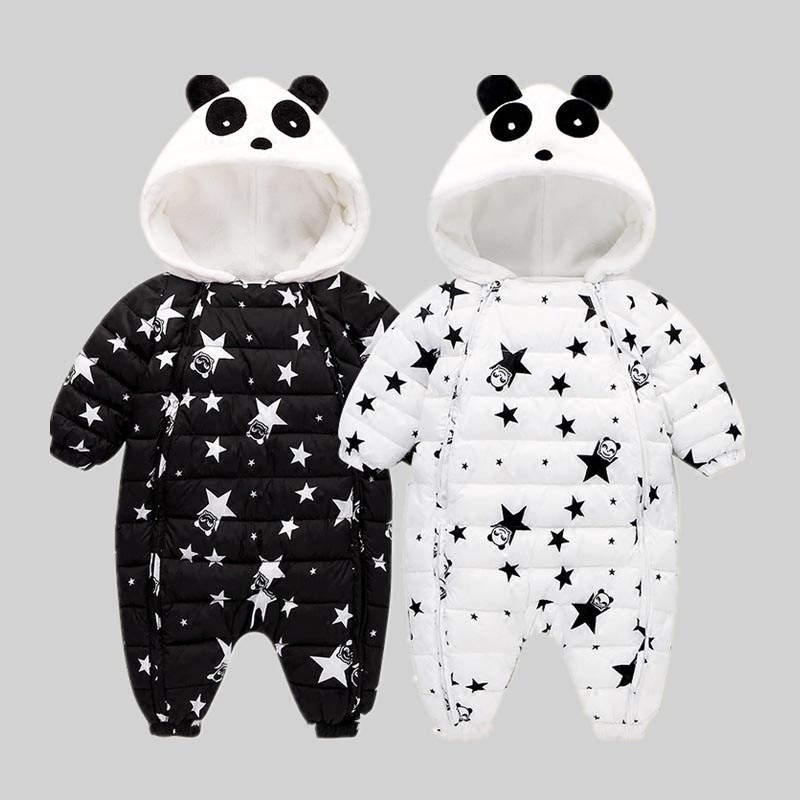 2588b71f3 baby panda climbing clothes baby One piece Suit Infant Warm Hoody ...