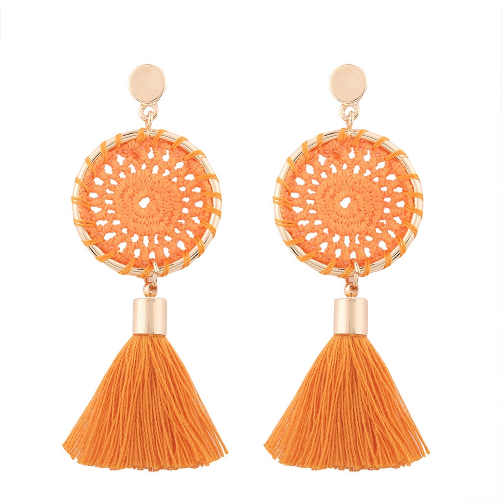 Nets Weaving Bohemia Tassels Earrings Women Long Dangle Drop Ear Stud Beach Jewelry New Fashion Nice Gift 1 Pair