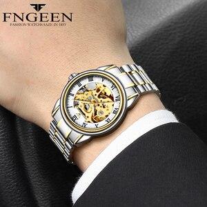 Image 4 - זוג שעונים למעלה מותג פלדה מכאני שעון יד לגברים ונשים Orologio Uomo Tourbillon שלד Relogio Feminino Saats