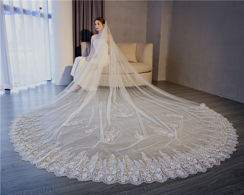 Sapphire Bridal Lace Edge 3 5M Ivory Long Tail Bridal Veil Vestido Noiva Renda Luxurious One