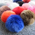 Pompom Rabbit Ball-10CM Imitation Fur Ball Pompom with Rubber Imitation Fox Rabbit Ball Plush Hair Ball Keychain Accessories