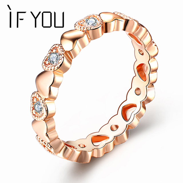 IF YOU 1pc Rose Gold Love Heart Crystal Rings High Quality Engagement Fashion Cu