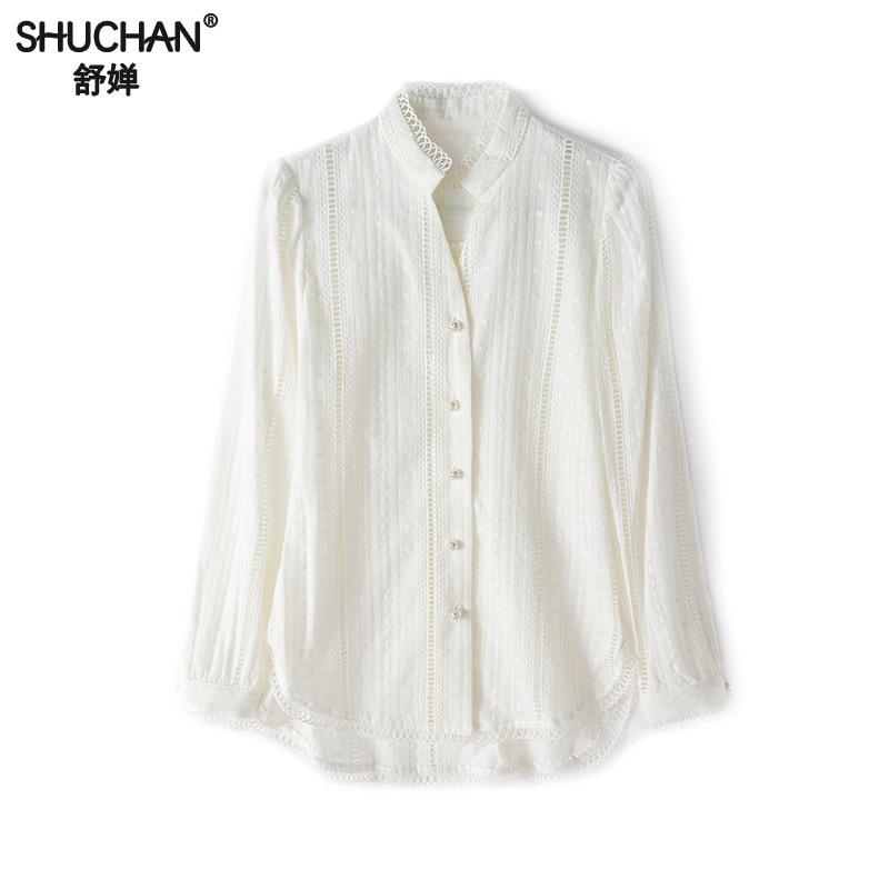 Shuchan blanc coton chemises et Blouses évider décontracté Stand cou 2019 femmes de mode femmes à manches longues blouses R10141