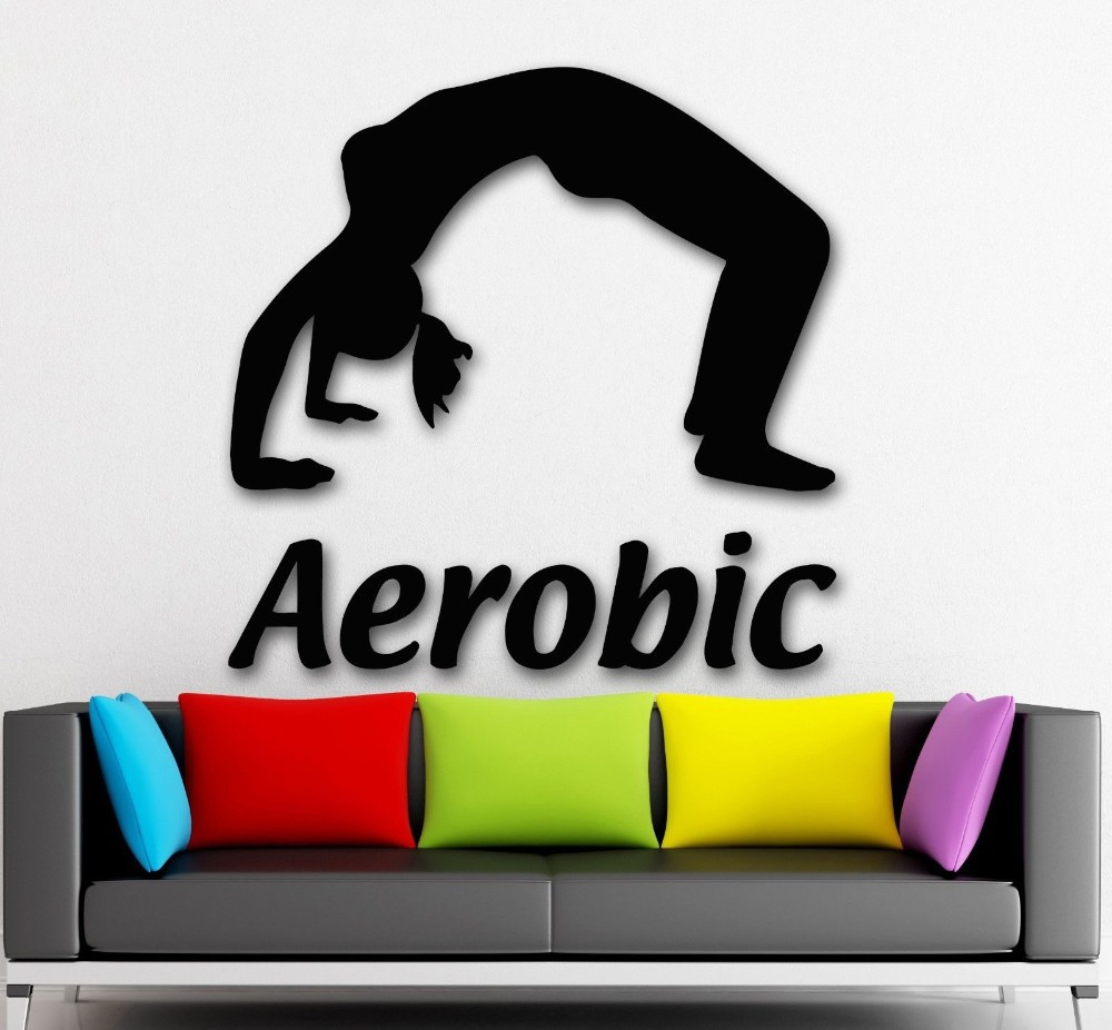 Sticker gym wall - Fashion Sport Aerobic Sexy Girl Vinyl Wall Decal Fitness Gym Woman Mural Art Wall Sticker Fitness