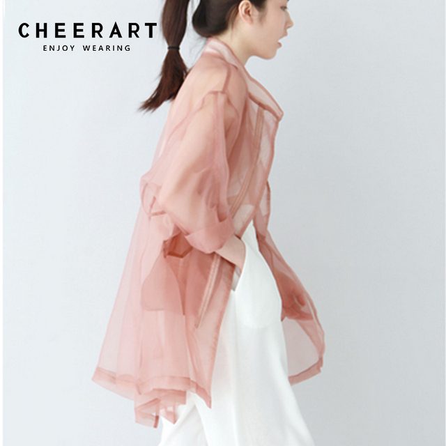 a425fb9d8bb4fd Cheerart Summer Sheer Kimono Cardigan Organza Transparent Blouse Women See  Through Loose Pink White