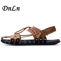 Genuine Leather Men Sandals Shoes Breathable Fisherman Shoes Style Retro Gladiator Summer Men Footwear 20D50