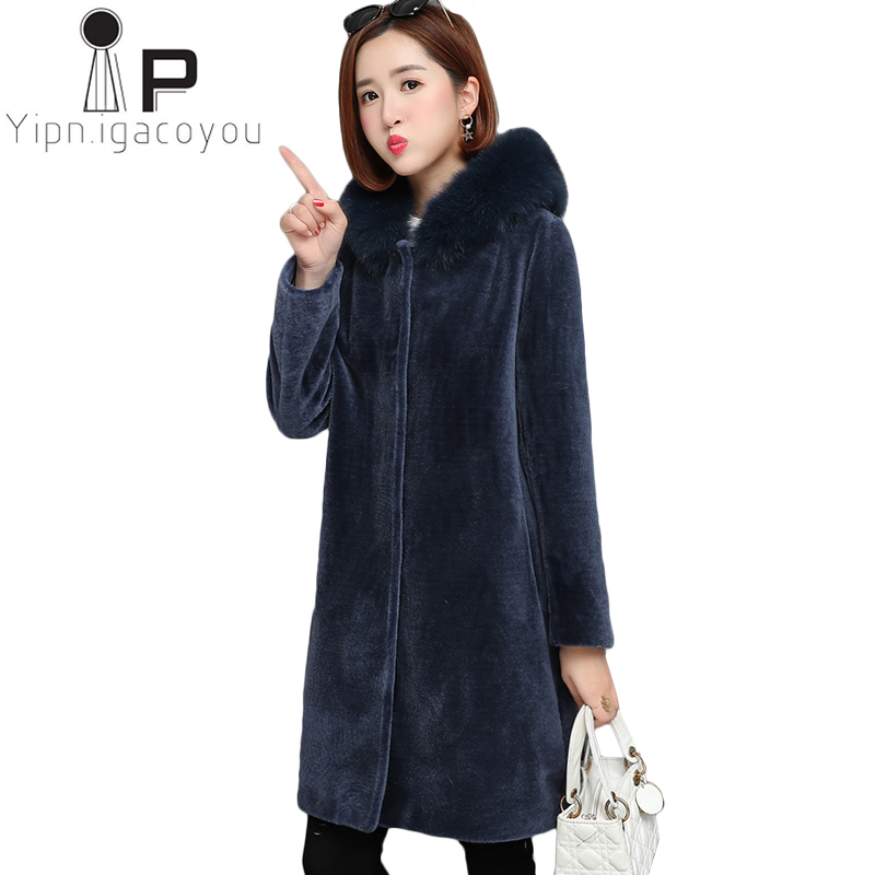 Elegant Women Faux Fur Coat Winter Thick Warm Long Fur Coats Fashion Hooded Jackets Overcoat High Quality Plus Size Outwear 5XL