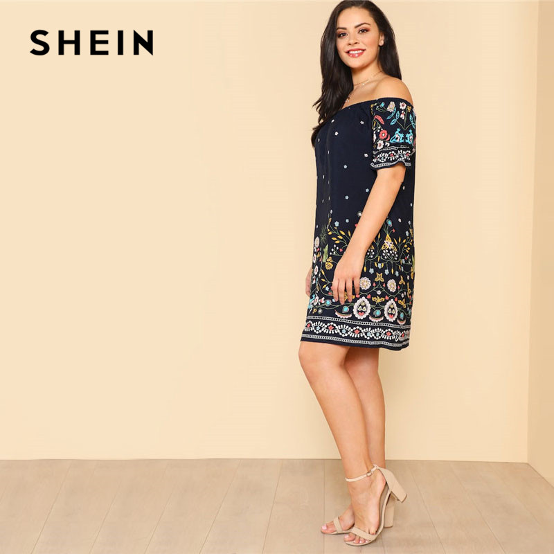 01be2a49ac SHEIN Navy Plus Size Botanical Print Off Shoulder Cotton Dress Women 2019  Summer Beach Vacation Bohemian Midi Dresses free shipping worldwide