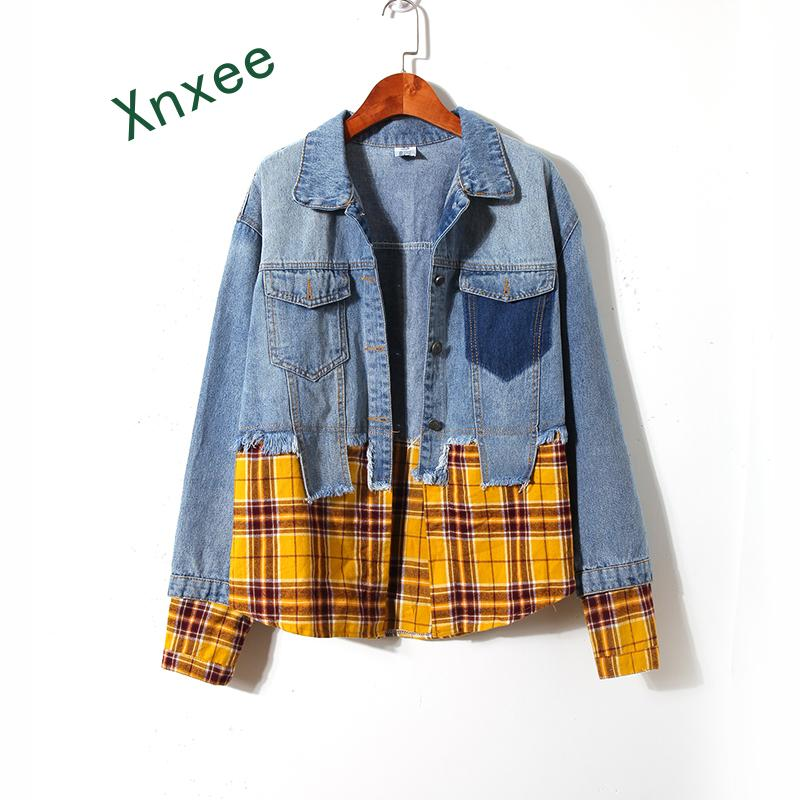 Xnxee Spliced Plaid Denim Jacket Women Korean Style Harajuku Streetwear Hip Hop Jacket Windbreaker Coats Loose Spring Autumn