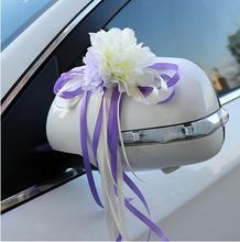 12PCS/Lot Romantic Flower Wedding Car Decoration Artificial Flowers Door Handles Rearview Mirror Decorate Accessories